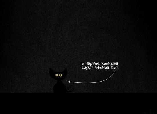 Чёрный кот в темноте